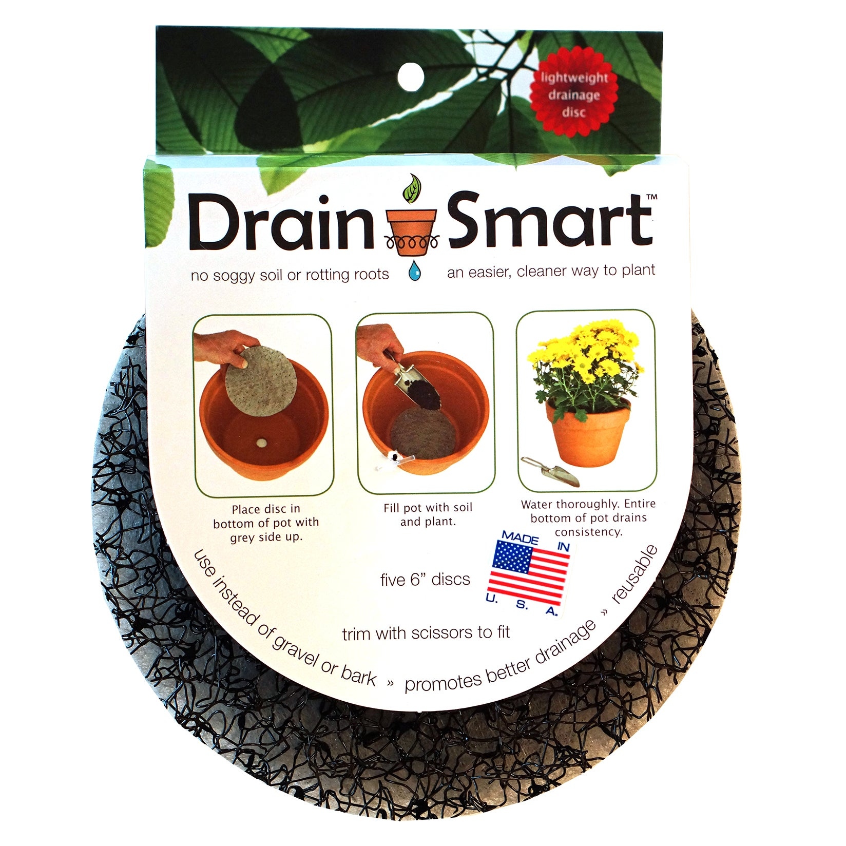 Pot Risers DS-6-5PK 6-Inches Drain Smart Discs 5-count (P...