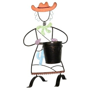 River Cottage Gardens R21401-YGUPS Cowgirl Metal Planter Pot