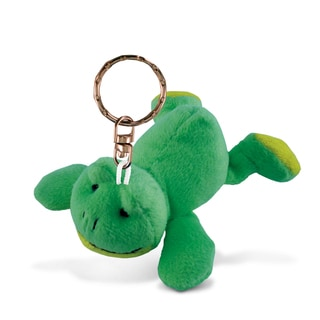 Puzzled Green Plush Frog Keychain