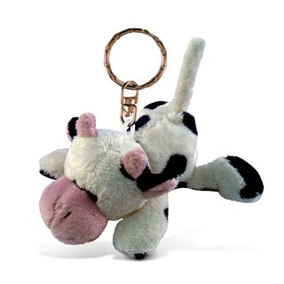 Puzzled Plush Cow Keychain