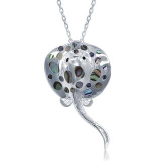 La Preciosa Sterling Silver Abalone Spotted Stingray Pendant