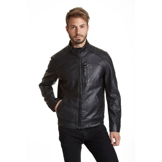 Excelled Men's Fashion Black Faux Leather Moto Jacket