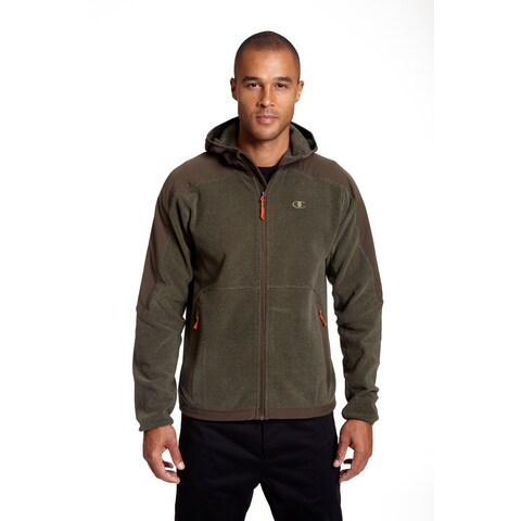 Champion Men's Big and Tall 4-way Stretch Overlay Hooded Textured Fleece Jacket