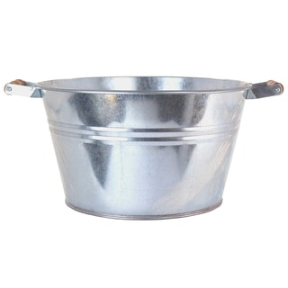 Hit Corp 6083 13-1/2-Inches X 8-Inches Galvanized Tub With Wooden Handles