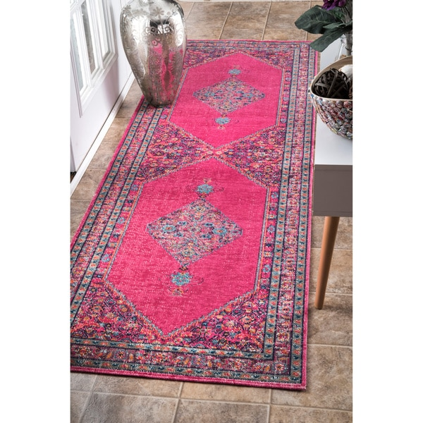 Great NuLOOM Vintage Persian Border Pink Runner Rug (2u00278 ...