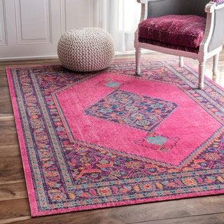nuLOOM Vintage Persian Border Pink Rug (4' x 6')