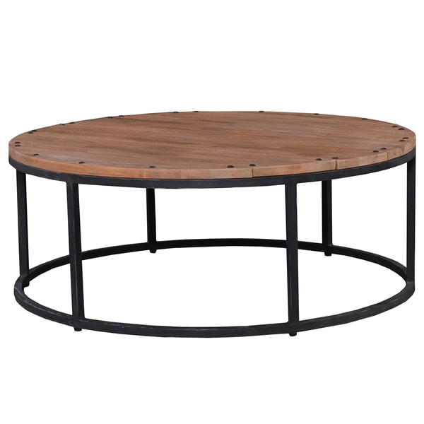 Round Driftwood Mahogany Coffee Table