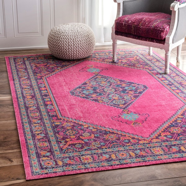 Shop Nuloom Vintage Persian Border Pink Rug 5 X 7 5