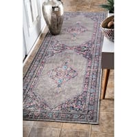 nuLOOM Vintage Persian Border Grey Runner Rug - 2'8 x 8'