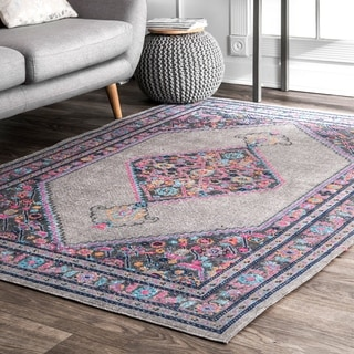 nuLOOM Vintage Persian Border Grey Rug (5' x 7'5)