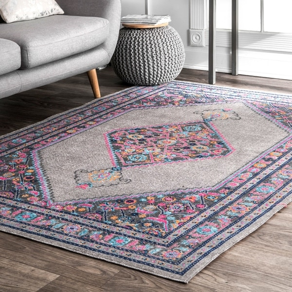 Shop Nuloom Vintage Persian Border Grey Rug 5 X 7 5
