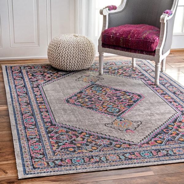 Area Rugs Home Goods: NuLOOM Vintage Persian Border Grey Rug (8' X 10')