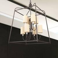 Modern 8-light Dark Bronze Chandelier w/Shades