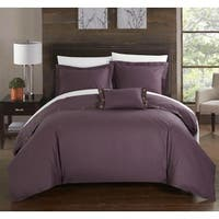 Chic Home Astrid Purple Cotton Duvet Cover 4-Piece Set