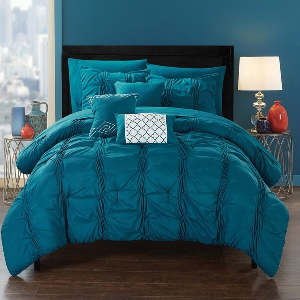 Chic Home Luna Blue Bed In A Bag Comforter 10 Piece Set