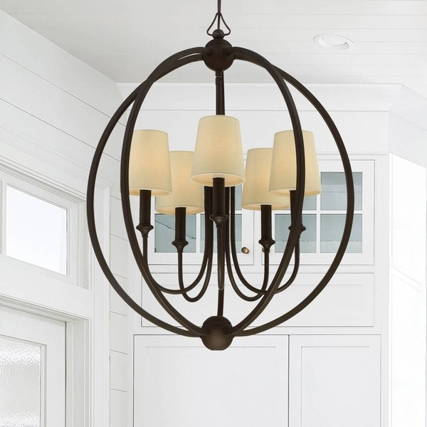 5-light Dark Bronze Chandelier w/Shades