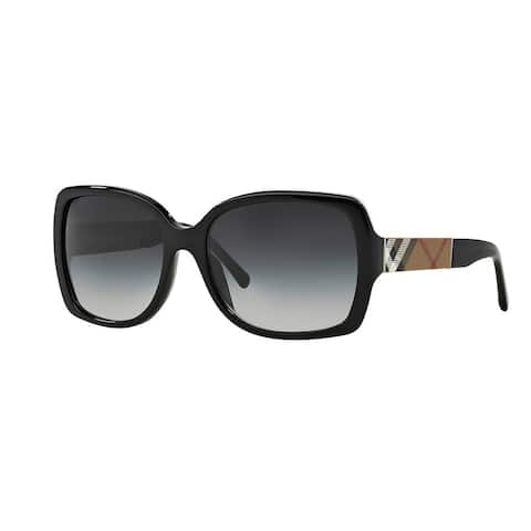 f4c874f8919 Burberry BE4160 34338G Black Plastic Square Sunglasses with 58mm Lens