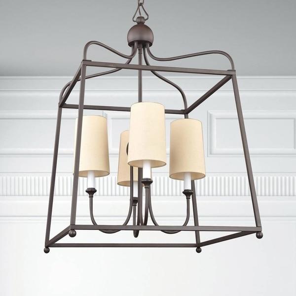 4-light Dark Bronze Chandelier w/Shades