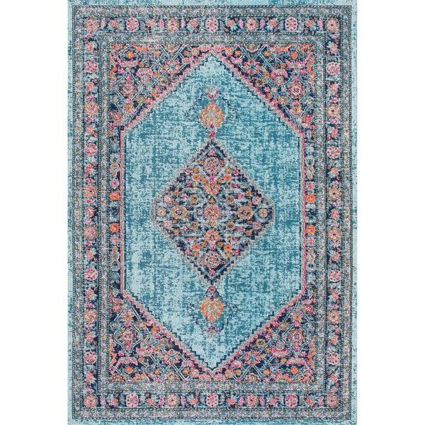 NuLOOM Vintage Persian Border Blue Rug (4' X 6')