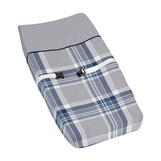 Sweet Jojo Designs Navy Blue and Gray Plaid Changing Pad Cover
