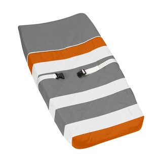 Sweet Jojo Designs Gray and Orange Stripe Changing Pad Cover