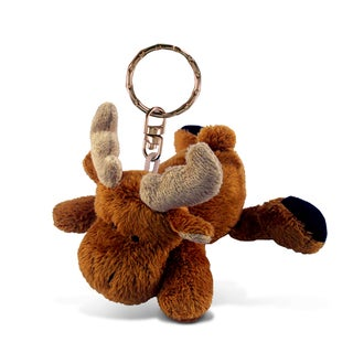 Puzzled Moose Plush Keychain