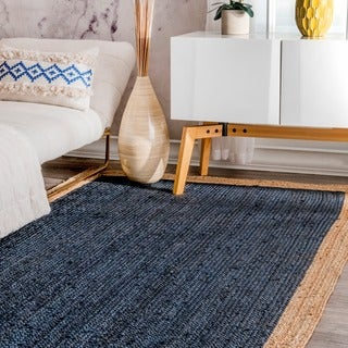 nuLOOM Alexa Eco Natural Fiber Braided Reversible Border Jute Blue Rug (2' x 3')