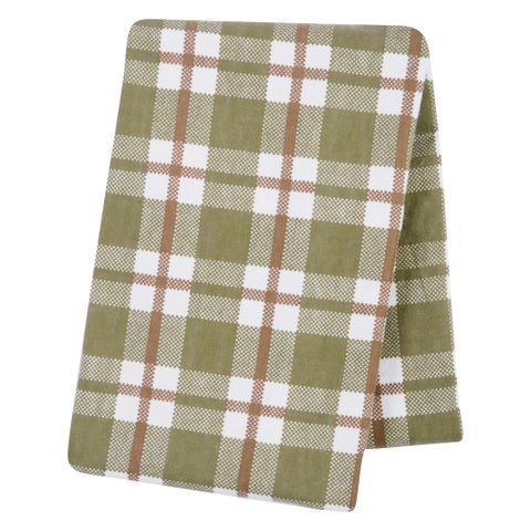 Trend Lab Green and Brown Plaid Deluxe Flannel Swaddle Blanket