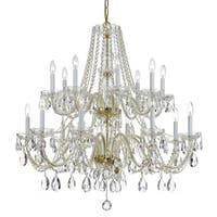 Crystorama Traditional 14-light Brass/Crystal Chandelier - Gold