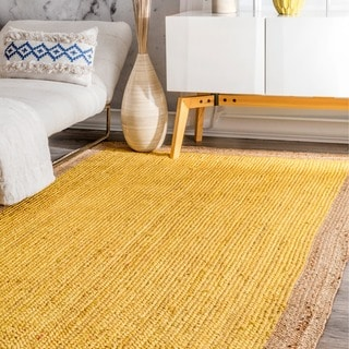 nuLOOM Alexa Eco Natural Fiber Braided Reversible Border Jute Yellow Rug (2' x 3')
