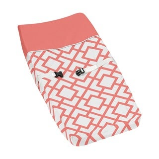 Sweet Jojo Designs Mod Diamond White and Coral Changing Pad Cover