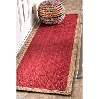 nuLOOM Alexa Eco Natural Fiber Braided Reversible Border Jute Runner Rug (2'6 x 8')