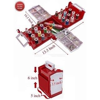 Smartek Plastic 100-piece Compact Foldaway Brother/Singer Sewing Box Kit