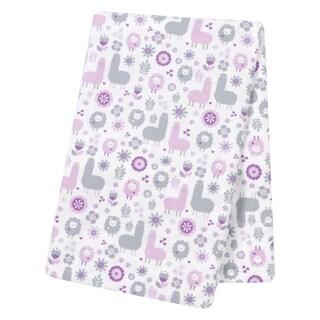 Trend Lab Llama Friends Grey/Purple Flannel Jumbo Deluxe Swaddle Blanket