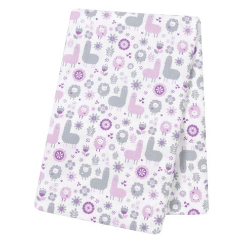 Trend Lab Llama Friends Grey/Purple Flannel Jumbo Deluxe Swaddle Blanket