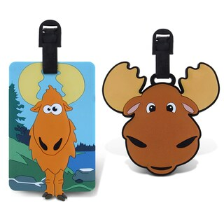 Puzzled Taggage. Goofy Moose And Moose Luggage Tag Set