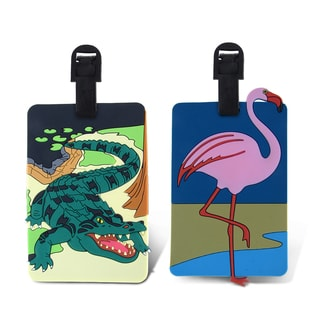 Puzzled Taggage! Plastic Flamingo and Wild Gator Luggage Tag Set