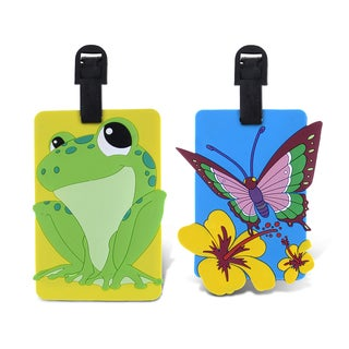 Puzzled Taggage! Plastic Butterfly & Frog Luggage Tag Set