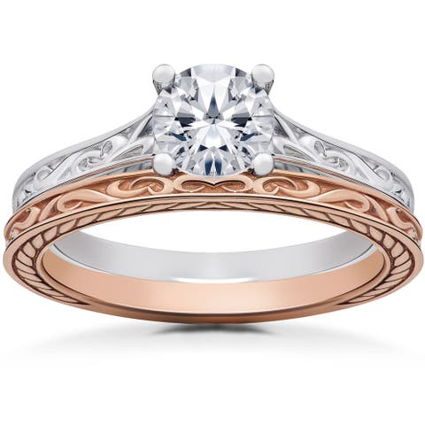 14k White & Rose Gold 1 ct Vintage Scroll Solitaire Lab Grown Engagement Ring & Matching Wedding Band (F-G, SI1-SI2)