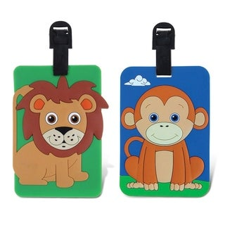 Puzzled Taggage! Multicolored Plastic Monkey And Lion Luggage Tag Set
