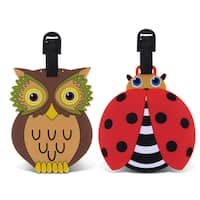 Puzzled Taggage. Ladybug and Owl Luggage Tag Set