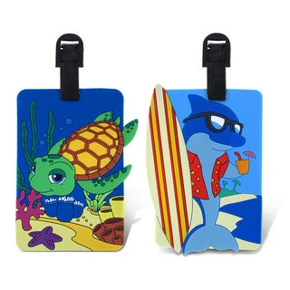 Puzzled Taggage. Cool Dolphin And Diving Sea Turtle Luggage Tag Set