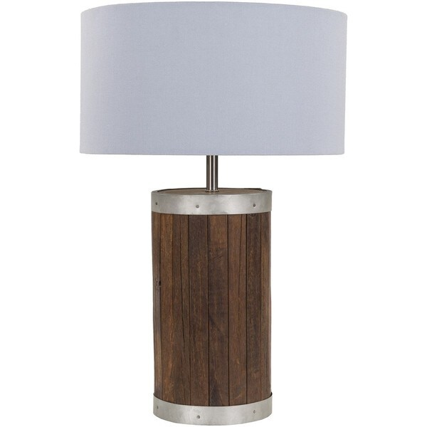 Modern Ollie Table Lamp with Natural Finish Wood/Metal Base