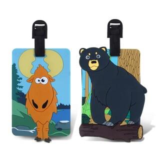 Puzzled Wild Black Bear and Goofy Moose Luggage Tag Set