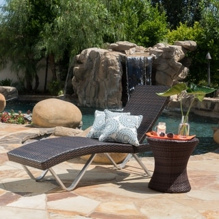 San Marco Outdoor Wicker Chaise Lounge with Table by Christopher Knight Home