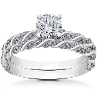 14k White Gold 1 ct Lab Grown Eco Friendly Diamond Engagement Ring & Matching Wedding Band Set (F-G, SI1-SI2)