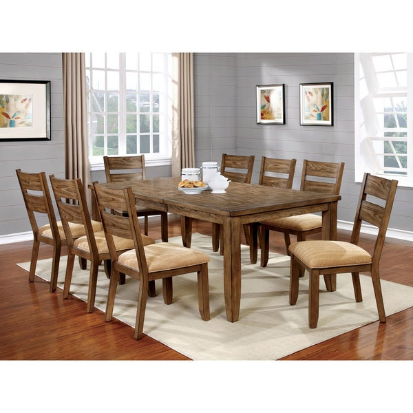Country Kitchen Table Sets: Shop Merina Country Light Oak 9-piece Dining Set By FOA
