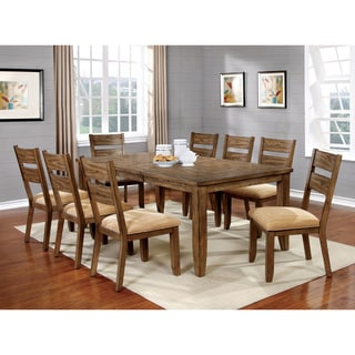 Furniture of America Merina Country Style 9-piece Light Oak Dining Set