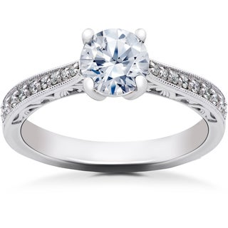 14k White Gold 5/8 ct Eco Friendly Lab Grown Diamond Vintage Engagement Ring (F-G, SI1-SI2)