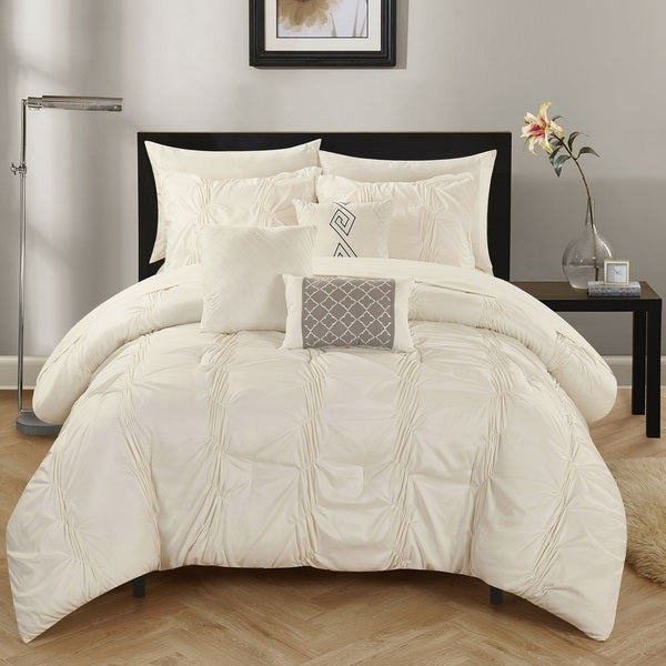 Chic Home 10-Piece Luna Beige Bed in a Bag Comforter Set